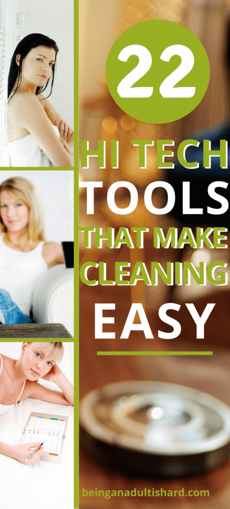 Pin 3 women relaxing while vacuum cleaning tool is cleaning floor with text 22 hi tech that make cleaning easy