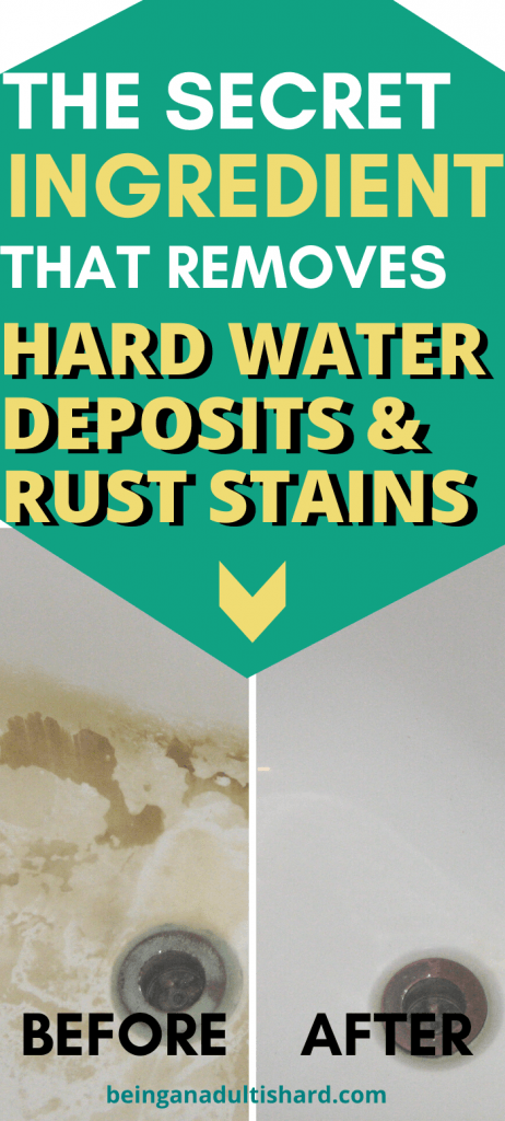 Tired of the battle against rust stains and hard water mineral deposits? Try this secret ingredient to beat them forever. The natural, environmentally friendly secret ingredient to remove rust stains, hard water stains, mineral and lime deposits from tubs, toilets, showers, shower glass doors and sinks.