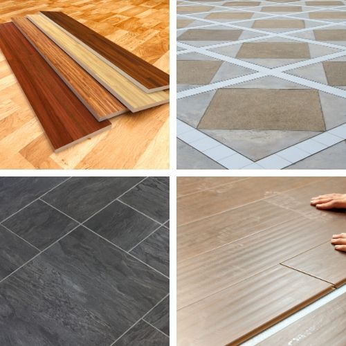 4 different types of flooring - hardwood, laminate, tile and vinyl