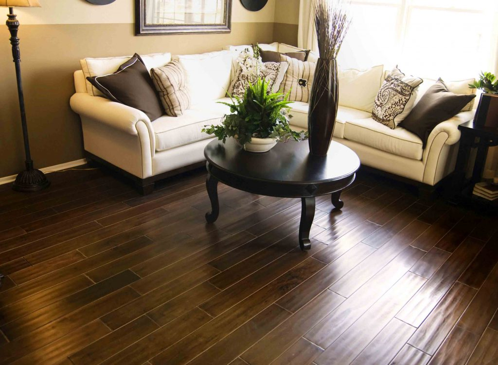 Clean Dark hardwood flooring in modern living room