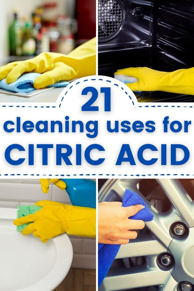 4 images - glove hand cleaning countertop; gloved hand cleaning oven; gloved hand cleaning toilet; hand cleaning wheel rim. Text reads '21 cleaning uses for citric acid'