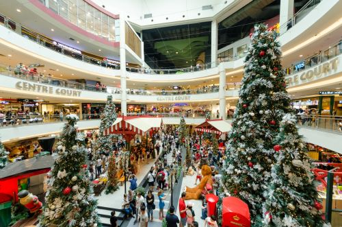 image of a busy mall with christmas trees and lineups
