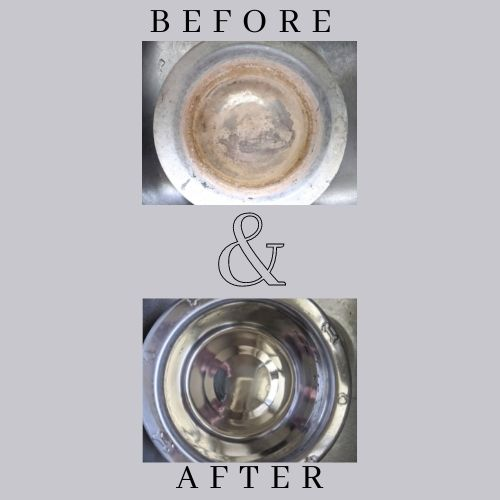 Before image shows pet bowl covered in Remove water calcium deposits; after image shows shiny clean stainless steel bowl after using citric acid powder to Remove water calcium deposits