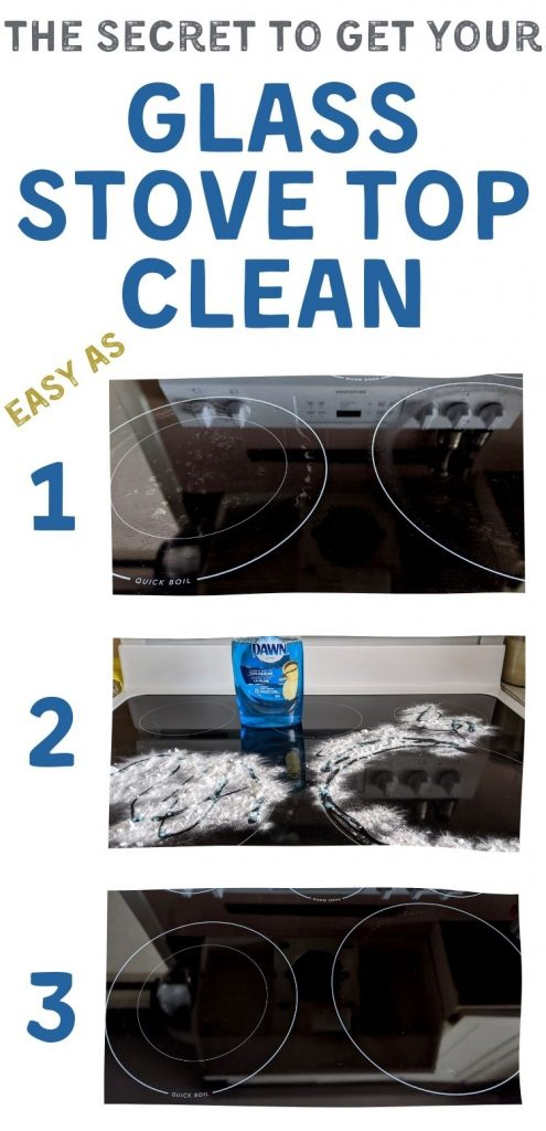 Text reads The Secret to Get your Glass Stove Top Clean - Easy as 1 2 3. Image of glass stove top with burnt on residue. Image of glass stove top with Dawn and baking soda sprinkled on it. Image of sparkling clean glass stove top