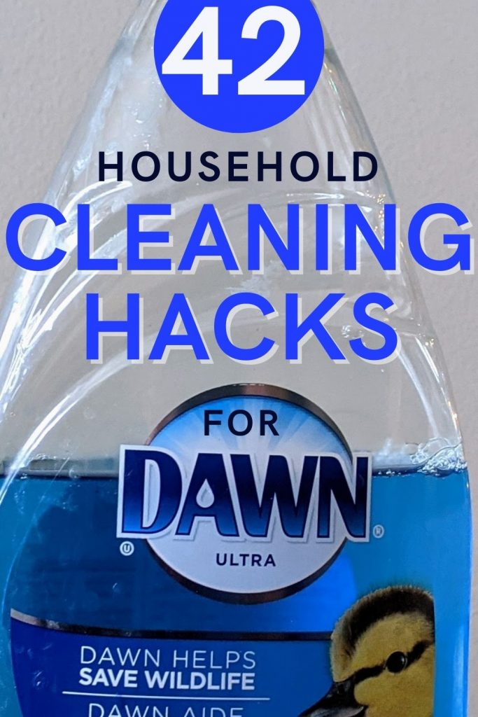 Text reads 42 household cleaning uses for Dawn ultra overlaid onto an image of a half full bottle of Blue Dawn ultra.