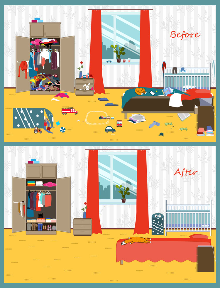 Vector image of a really messy room before and after cleaning fast
